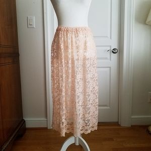 Free People Lace Layering Skirt Peach